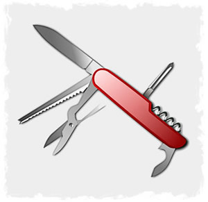SAK (Swiss Army Knife) with many tools