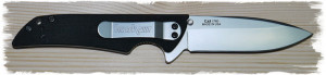 Kershaw Skyline with blade deployed, pocket clip side